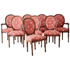 Set of Eight Louis XVI Style French Tapestry Dining Chairs