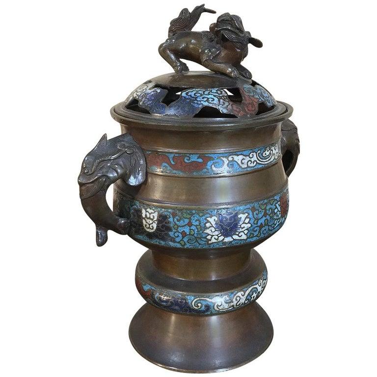 19th Century Asian Cloisonné Incense Burner For Sale