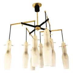Italian Midcentury Chandelier with Fluted Glass Shades