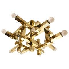 Brass Cubic Gaetano Sciolari Chandelier, Italy, 1960s