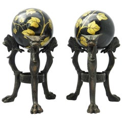 Pair Antique Tripod Bronze Stands with Chimera and Balls Painted Ivy