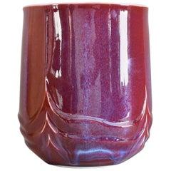 Japanese Glazed Red Decorative Porcelain Vase by Master Artist