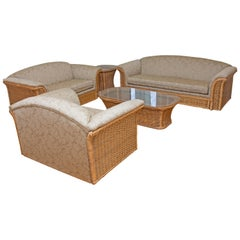 Mid-Century Modern Wicker Set Five Pieces Sofa, Chair, Settee and Two Tables