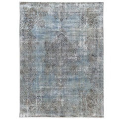 Vintage Distressed Blue Overdyed Wool Rug
