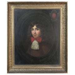 18th Century Framed Oil Portrait on Canvas