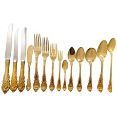 Sir Christopher Gold by Wallace Sterling Silver Flatware Set Vermeil 188 Pieces