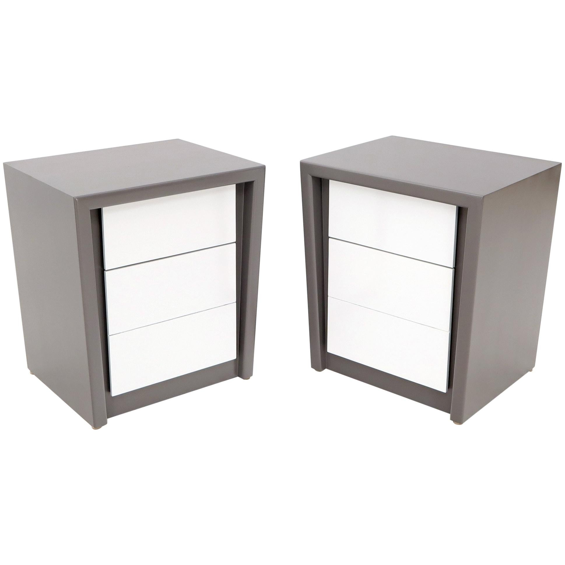 Pair of Tapered Shape Two Drawers Grey and White End Side Tables Nightstands