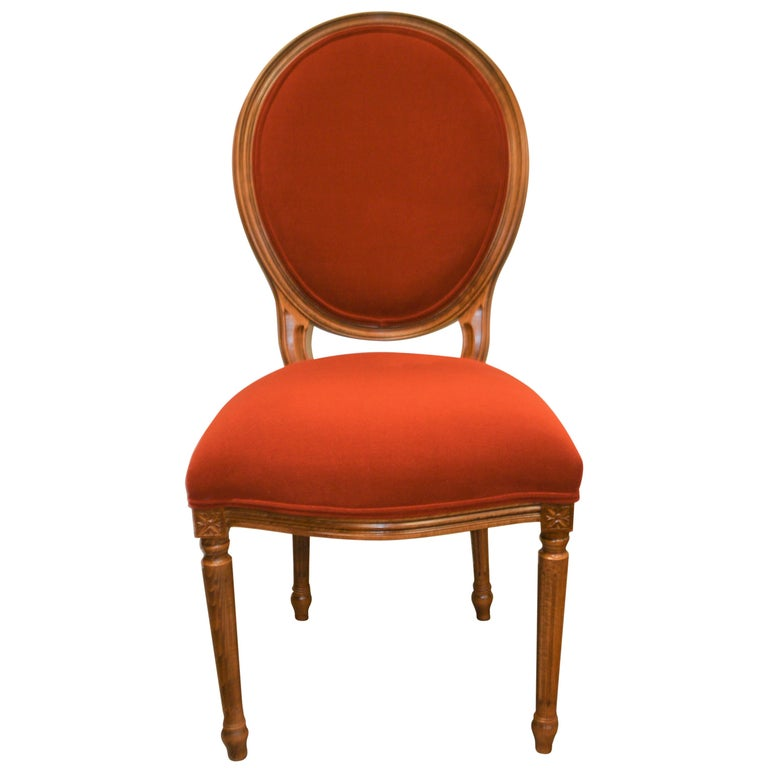 Louis XVI Style Oval Back Dining Chair, Washable Velvet Fabric for Custom Order For Sale