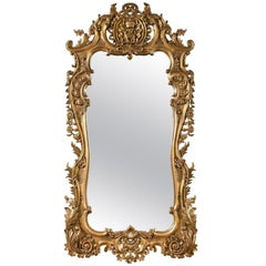 Monumental Louis XV Style Giltwood Mirror Exquisite Details