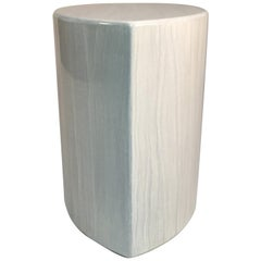 White Faux Travertine Stone Lacquered Gloss Side Table, Seat