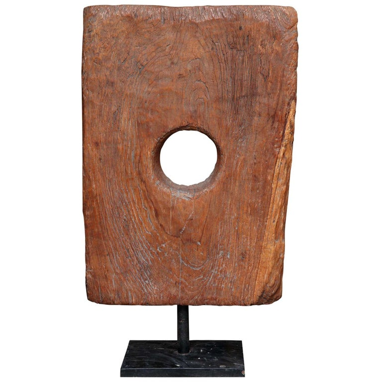 Reclaimed Wood Tile Sculpture on Stand, Mid-20th Century For Sale