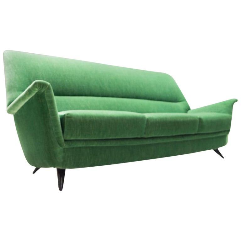 Vintage Italian Green 3-Seat Sofa, 1950s For Sale