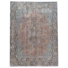Vintage Distressed Blue and Rose Overdyed Wool Rug
