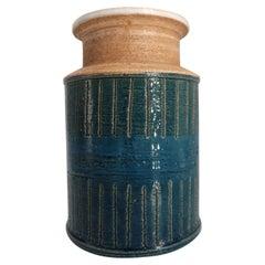 Italian Bitossi Handmade Ceramic Dark Teal, Blue, White Vase, 1960s