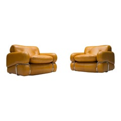 Set of 2 Vintage Italian Cognac Leather Armchairs, 1960s