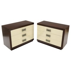 Pair of Two-Tone Mid-Century Modern Art Deco Bachelor Chests Dressers