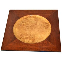 Signed Vintage Decorative Burl Wood over Mahogany Plate, Centerpiece