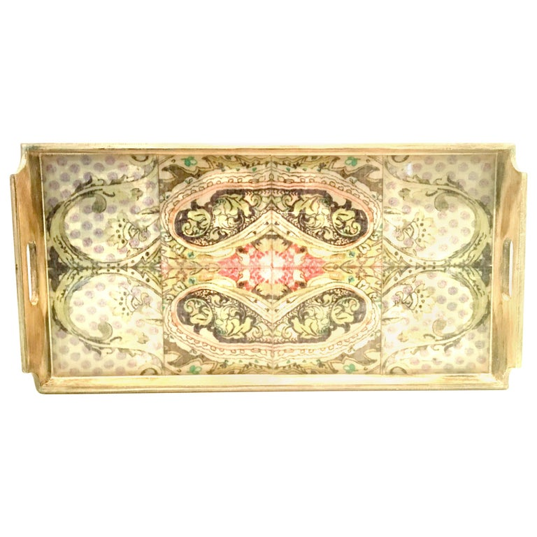21st Century Large Wood Printed Belgium Linen and Glass Cutout Handle Tray For Sale