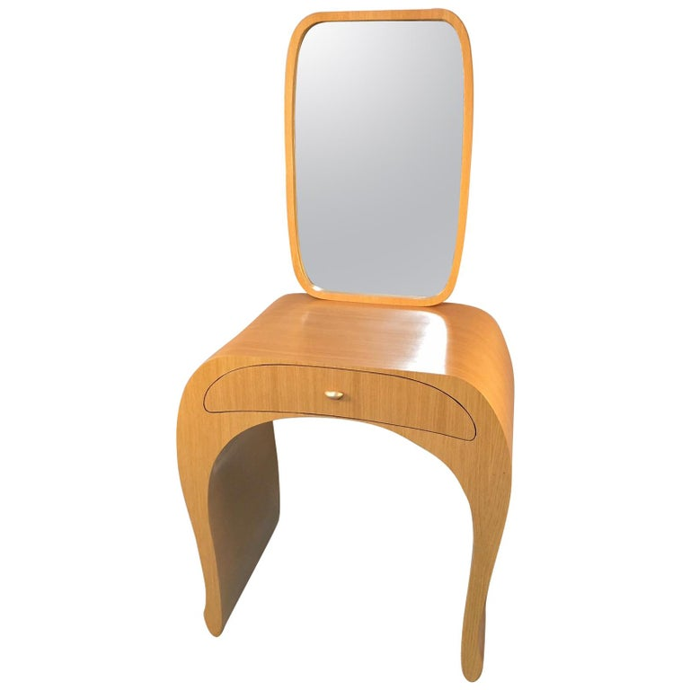 Vanity, Mirror with Oakwood Veneer and Black and Gold Lacquer For Sale