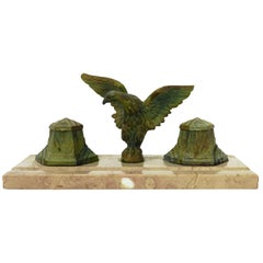 Art Deco Inkstand Eagle on Marble French Desk Inkwell, circa 1930