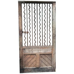 19th Century Rustic French Wood and Iron Door