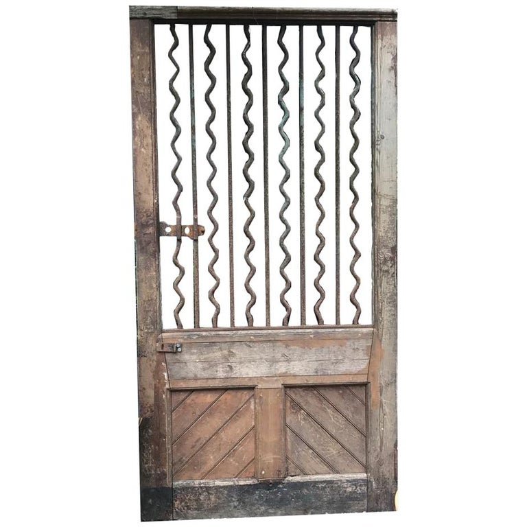 19th Century Rustic French Wood and Iron Door For Sale