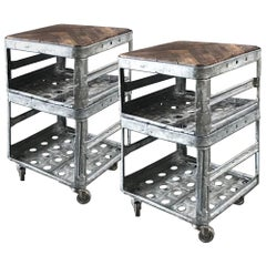 Pair of Two-Tiered Industrial Metal Tables with Wood Tops