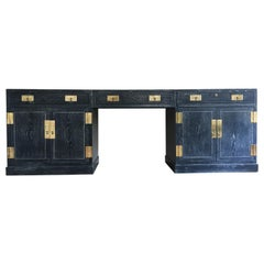 Sensational Cerused Oak and Brass Credenza or Desk by Henredon