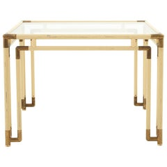 Cream and Brass Metal Dining Table with Glass Top