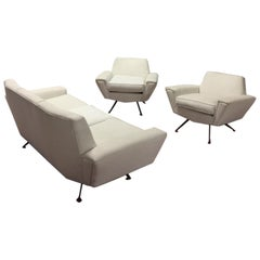 Minotti White Cotton Sofa and Armchairs