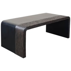 Pleats Coffee Table, Black Lacquer and Copper by Robert Kuo, Limited Edition