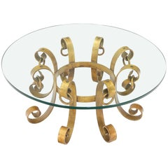Round Decorative Gilt Wrought Iron Base Glass Top Sunburst Coffee Table
