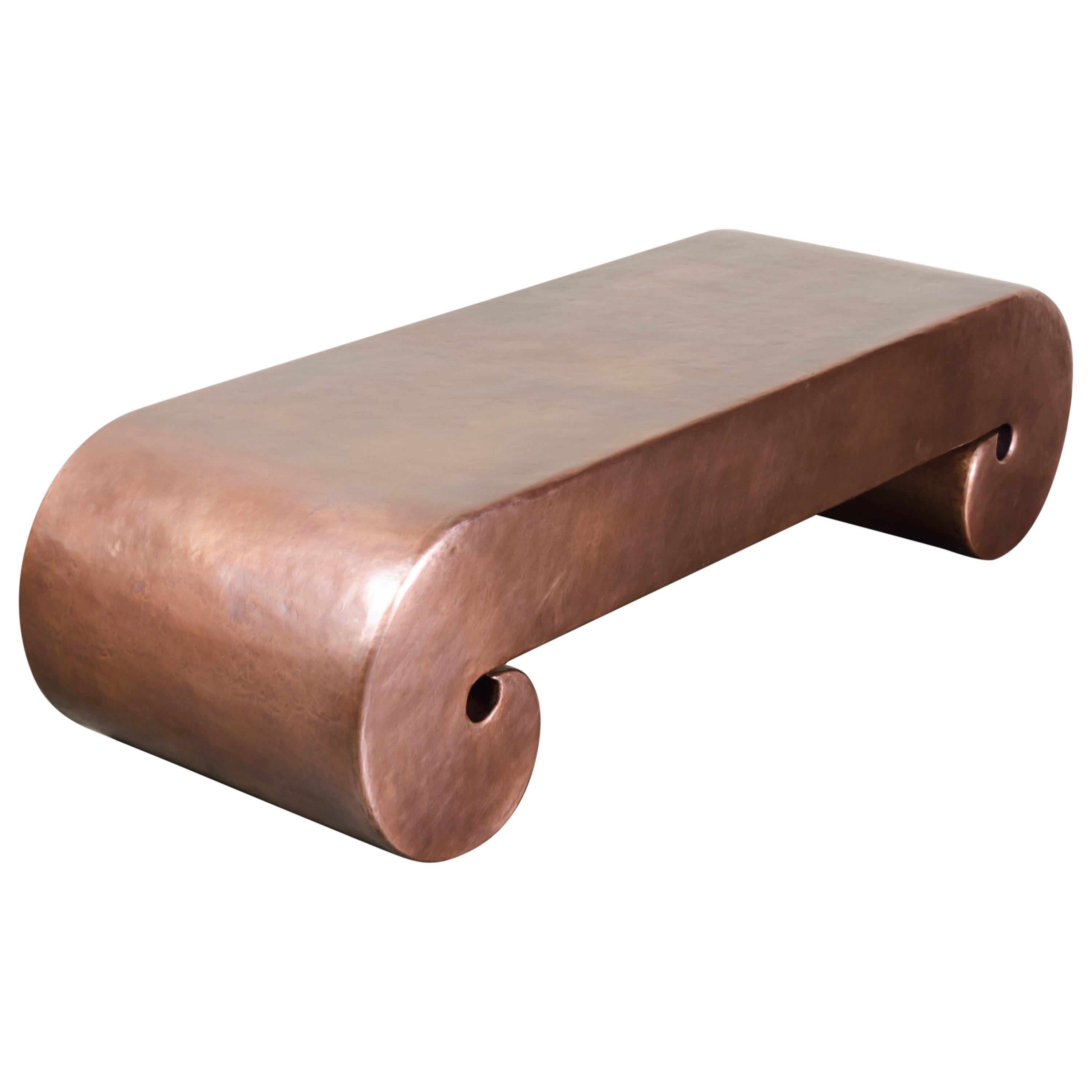 Low Scroll Design Table, Antique Copper by Robert Kuo, Hand Repousse