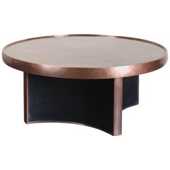 4 Curve Cocktail Table, Black Lacquer with Copper Top, Hand Repousse