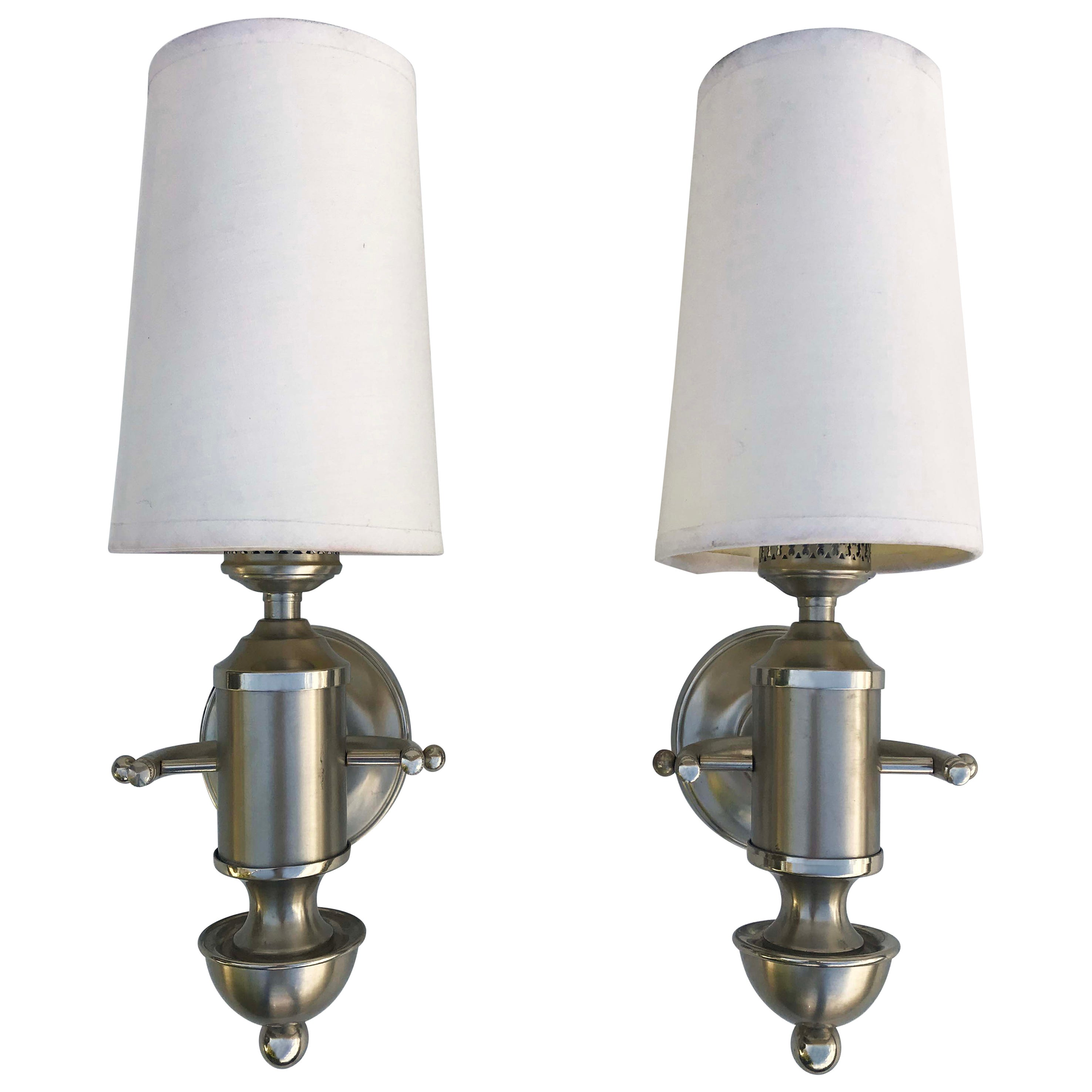 Signed Maison Charles Pair of Nautical  Sconces
