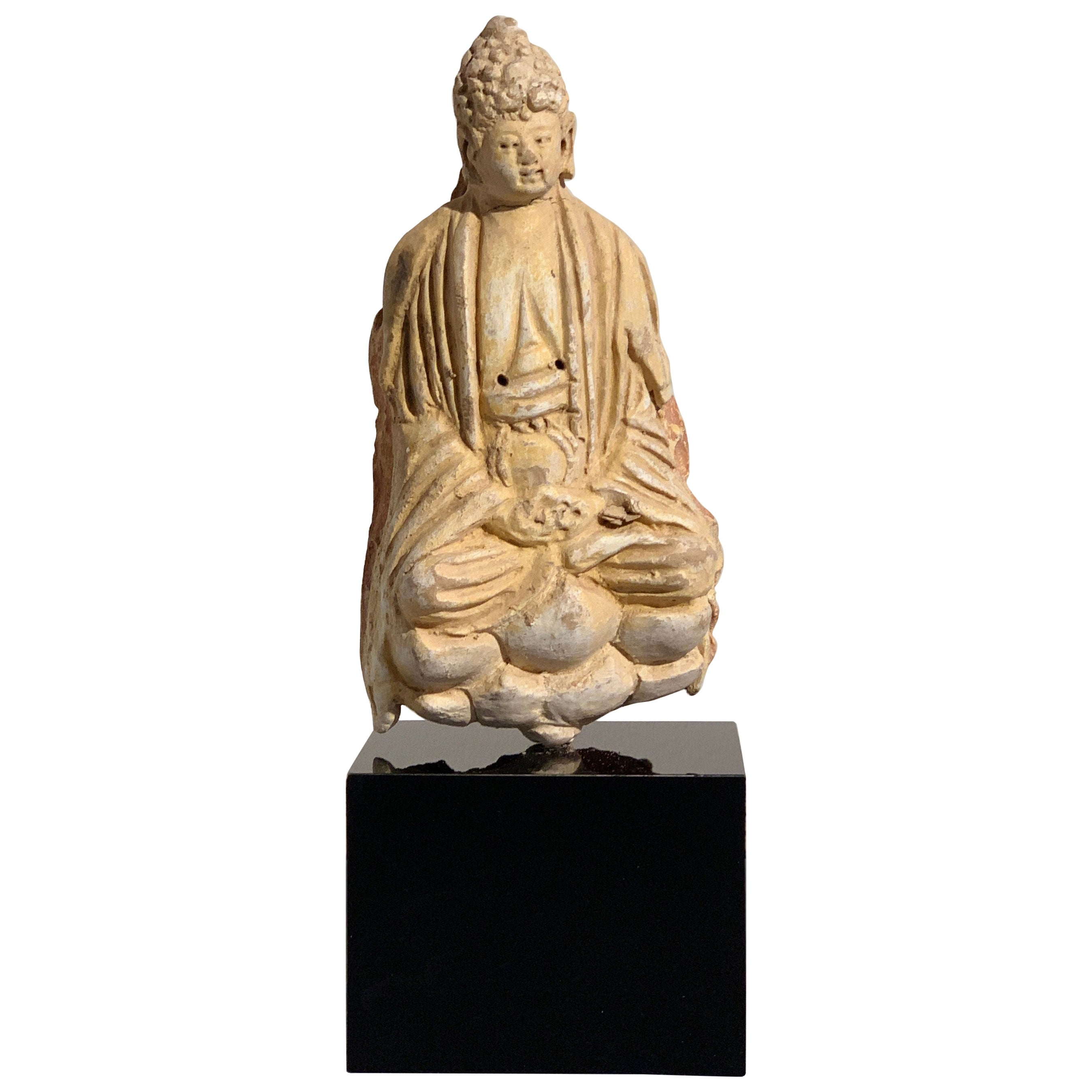 Chinese Stucco Seated Buddha, Yuan to Ming Dynasty, Mid-14th Century