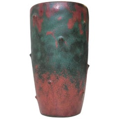 Art Deco Pottery Vase with Camou-Glaze by Niels Peter Nielsen for Dagnaes, 1940s