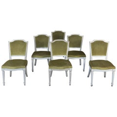 Set of 6 Antique French Louis XVI Painted Dining Chairs