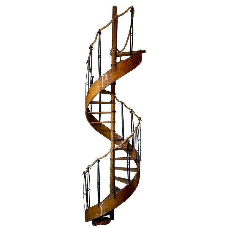 1930s Wood Spiral Staircase with Wrought Iron Balusters and Rope Railing For Sale