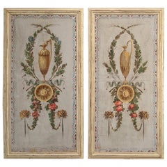 Pair of 19th Century Painted Canvas Window Panels
