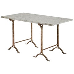 Trestle Table with Iron Base and Stone Top