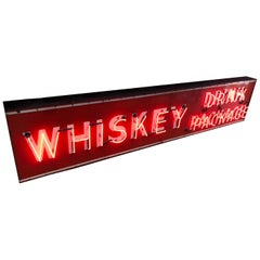 Vintage Neon and Porcelain Whiskey Sign