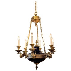 Empire Style Six-Light Cobalt and Gold Chandelier