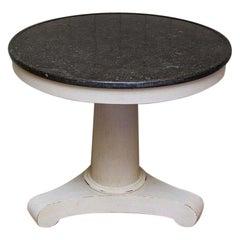 Painted Circular Granite Top Pedestal Table