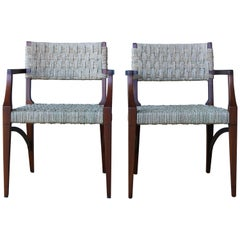 Pair of Sea Grass and Mahogany Armchairs, France, 1950s.