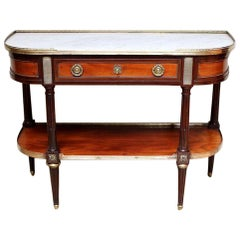 Mahogany Marble Top Console Table