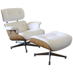 Eames Style Chair and Ottoman in Coated White Linen Blend Upholstery