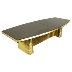 Custom Dining or Conference Table by Ed Moore, Brass and Charcoal Granite