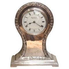 Edwardian Silver Plated Balloon Clock