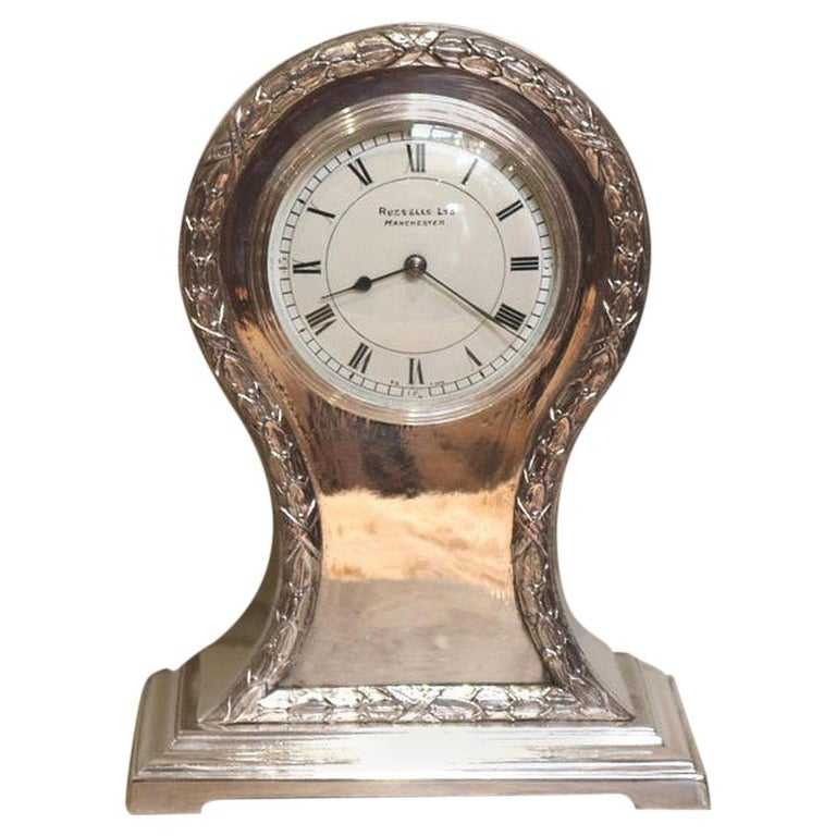 Edwardian Silver Plated Balloon Clock For Sale